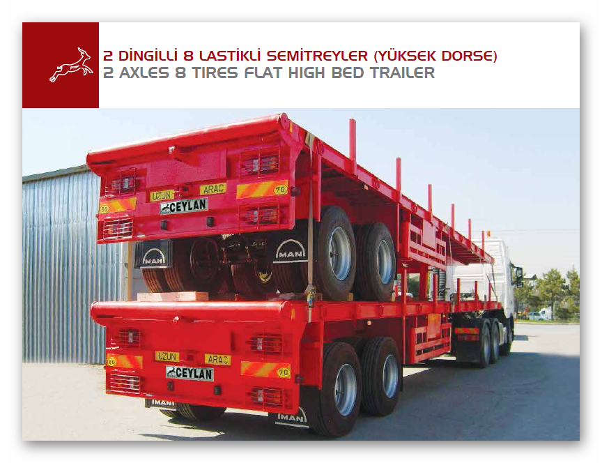 2 AXLES 8 TIRES FLAT HIGH BED TRAILER