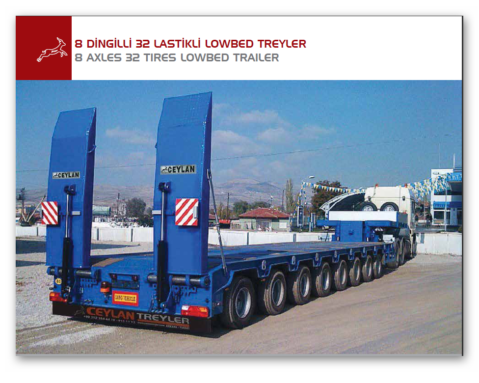 8 AXLES 32 TIRES LOWBED TRAILER