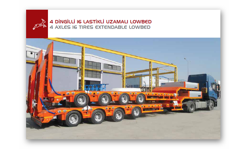 4 AXLES 16 TIRES EXTENDABLE LOWBED