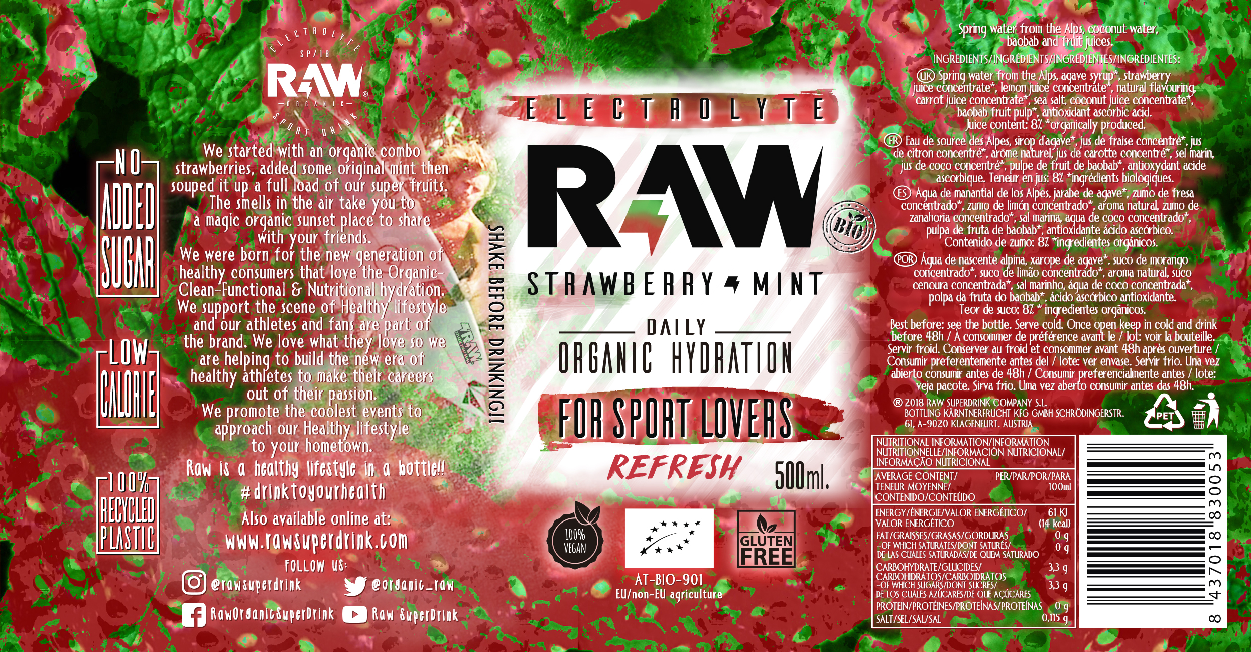 RAW SUPERDRINK PET 500ML STRAWBERRY & MINT
